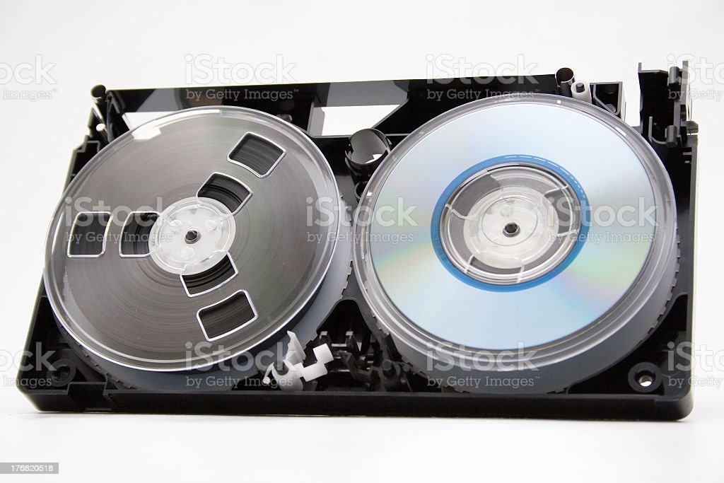 Take to pieces VHS cassette and CD disc stock photo
