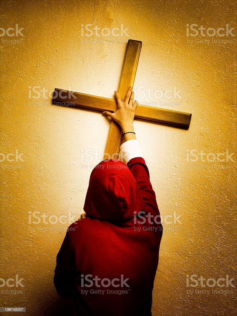 Take your cross and follow me (Jesus) stock photo