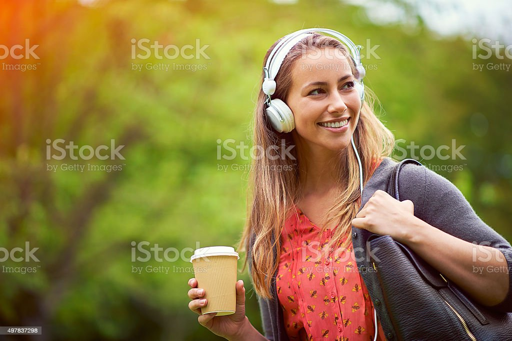 Take your music and coffee with you stock photo