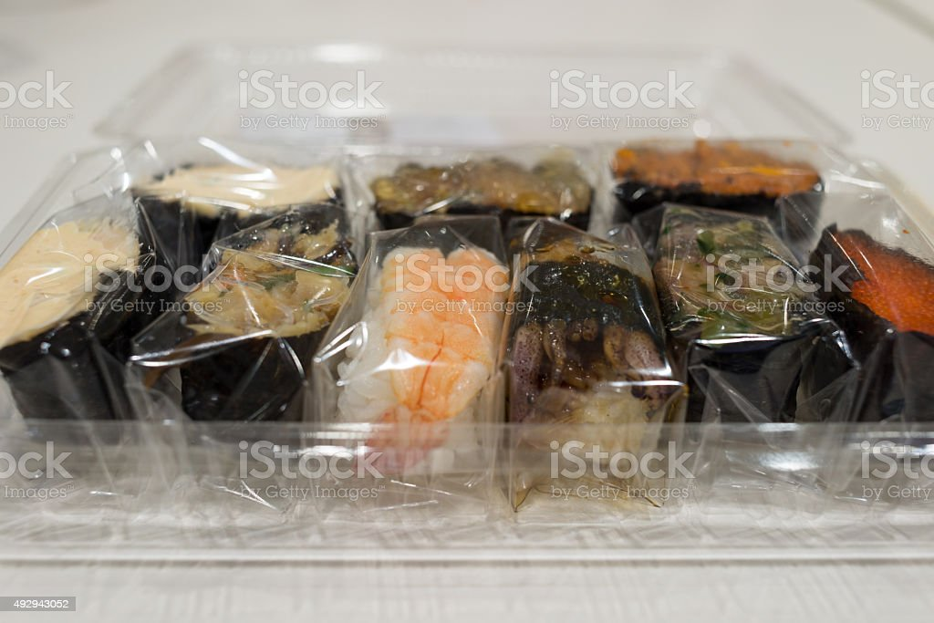 Take-away Japanese sushi for lunch stock photo