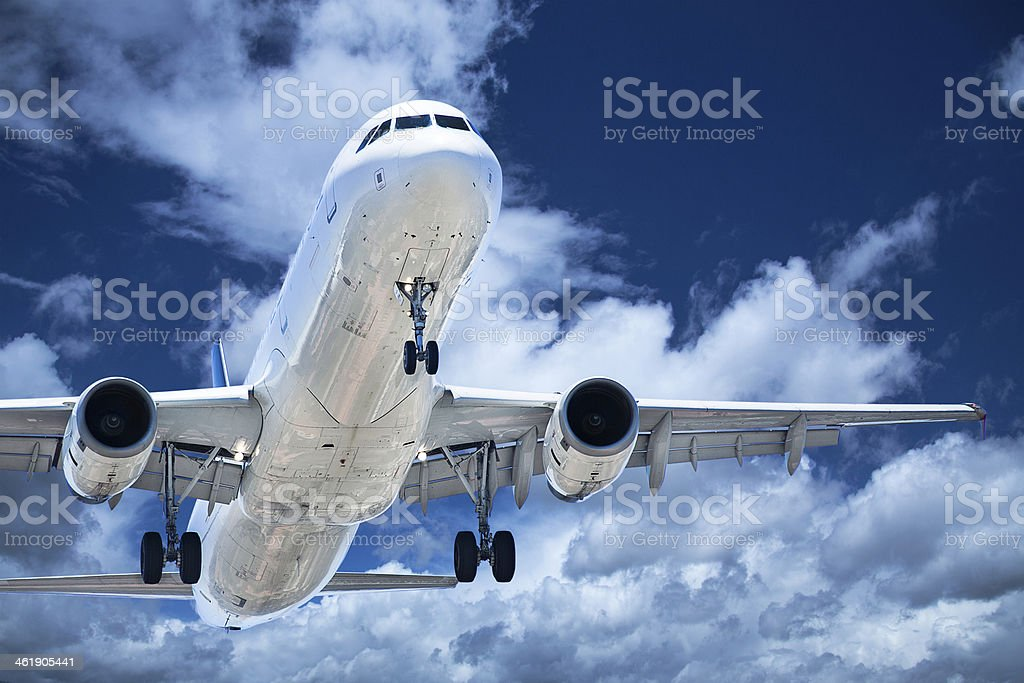 takeoff plane in airport stock photo
