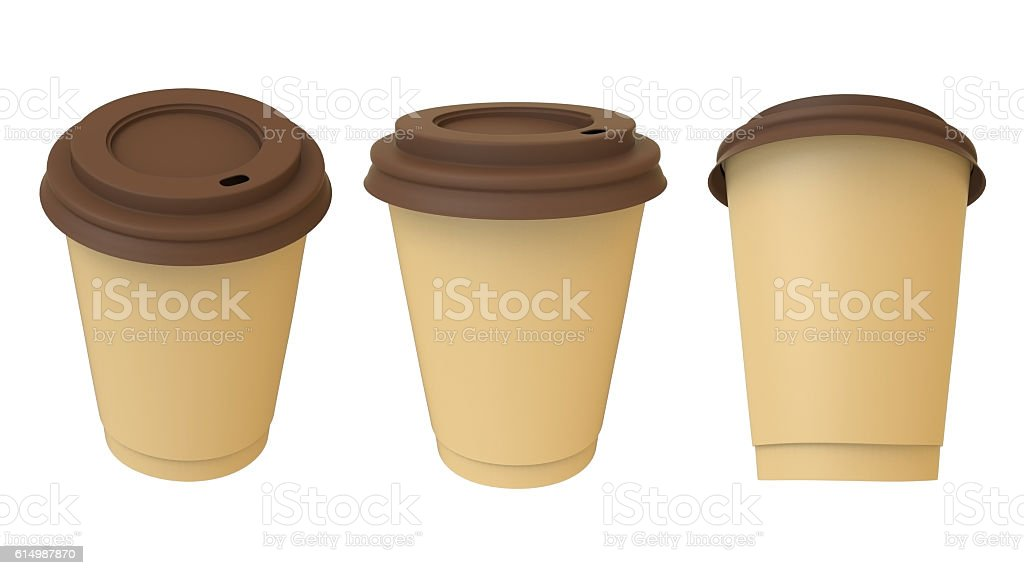 Take-out coffee cup with brown cap and cup holder stock photo