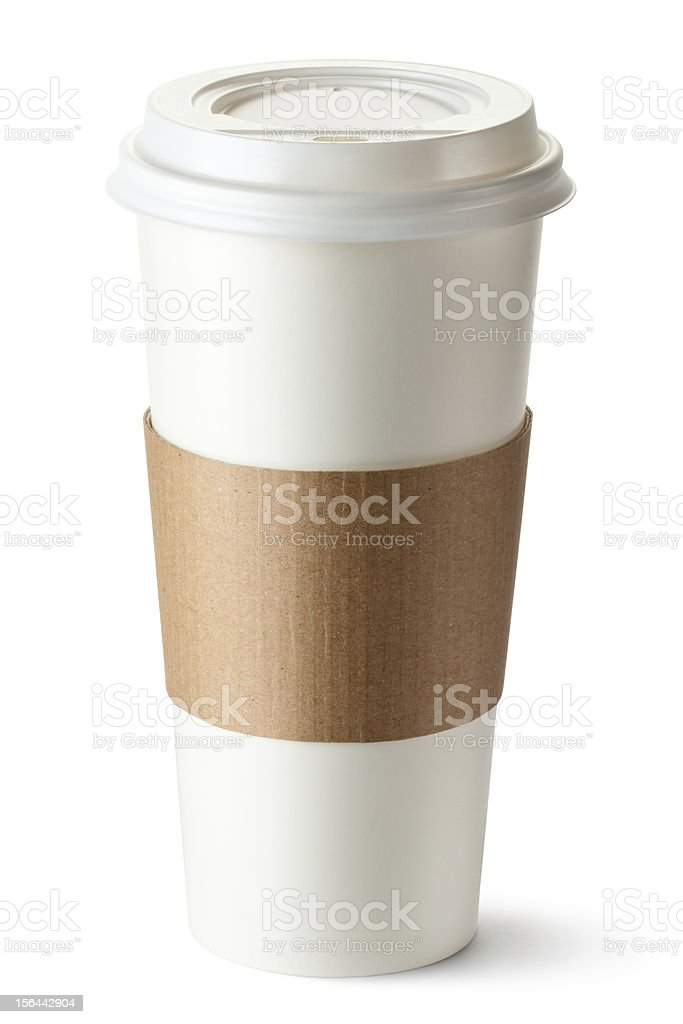 Take-out coffee with cup holder royalty-free stock photo