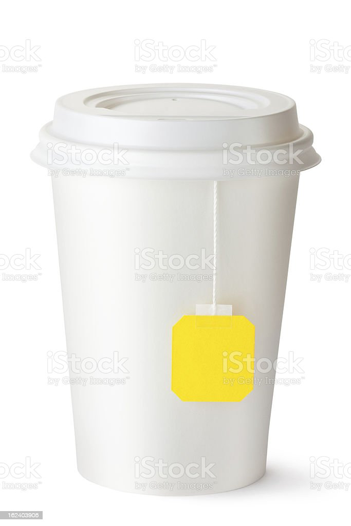 Take-out teacup with teabag royalty-free stock photo