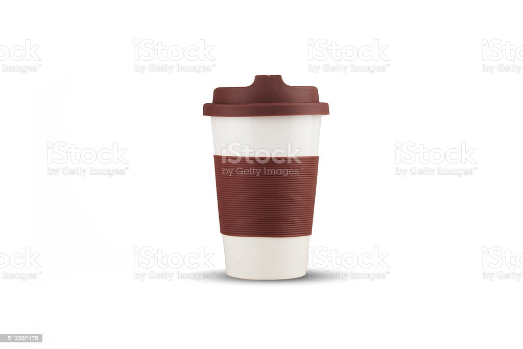 Take-out thermo cup with brown silicone lid isolated stock photo