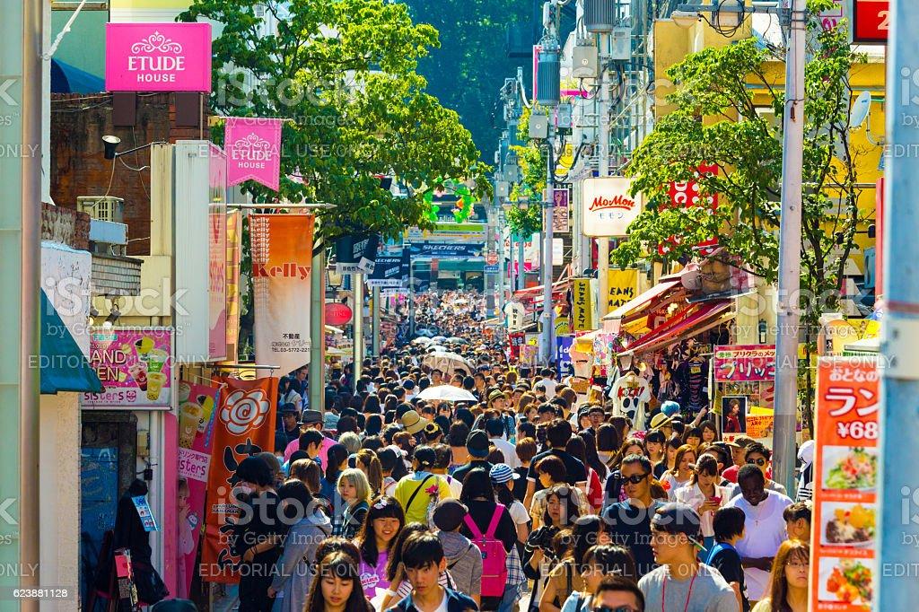 Takeshita Street Crowds Shops Many People stock photo
