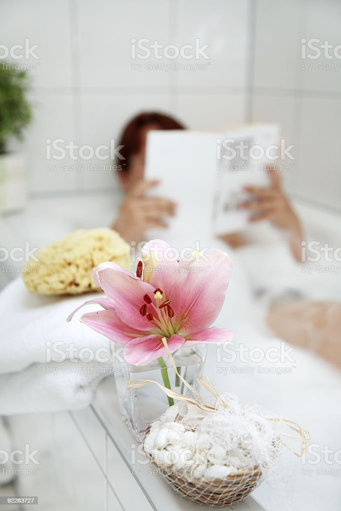 Taking a bath and relaxing stock photo