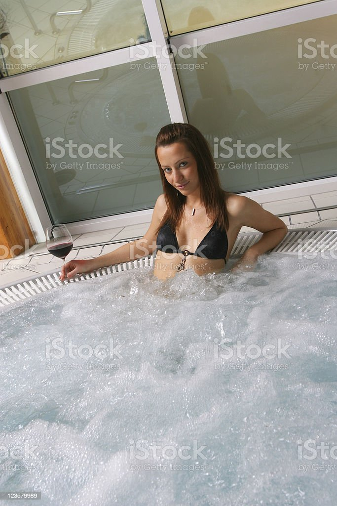 Taking a bath in the hot tub royalty-free stock photo