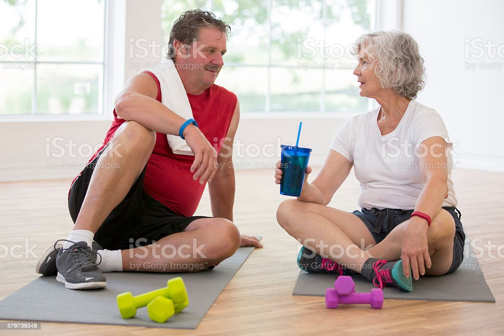 Taking a Break After a Workout stock photo