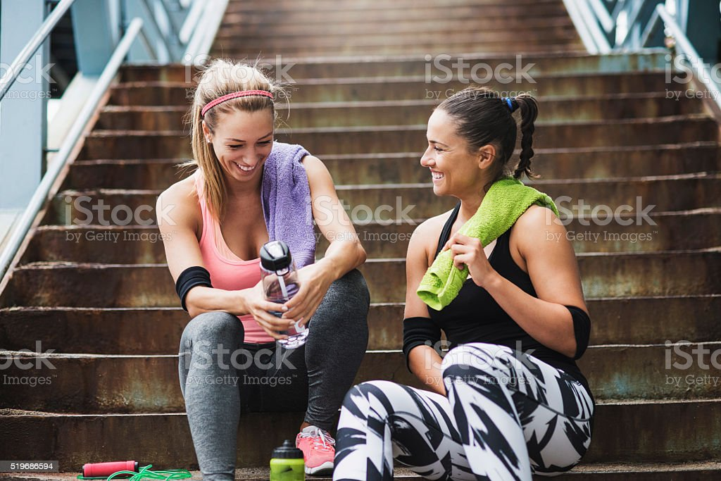 Taking a break after training stock photo