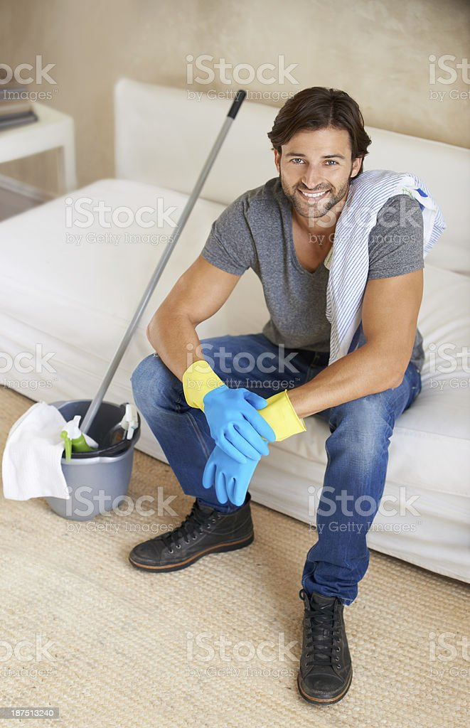 Taking a break before mopping the floor royalty-free stock photo