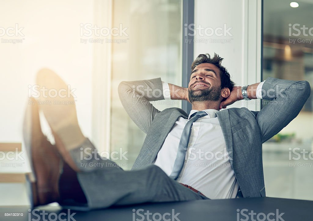 Taking a break from business stock photo