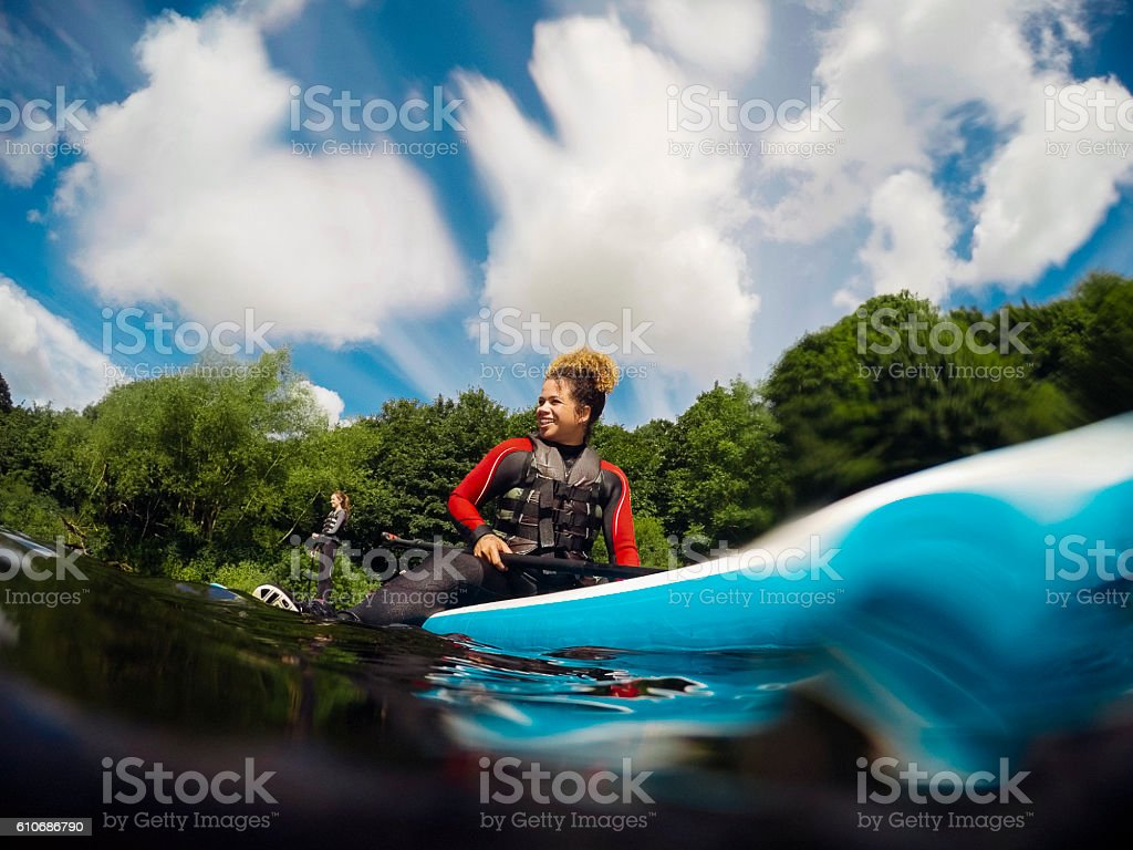 Taking a Break from Paddleboarding stock photo