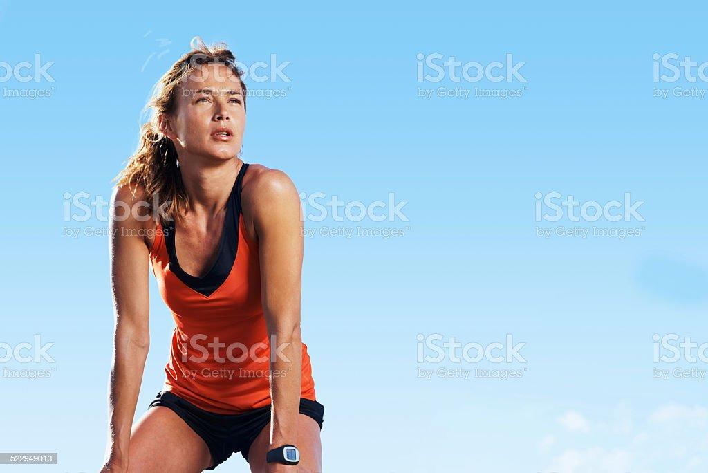 Taking a break from running stock photo