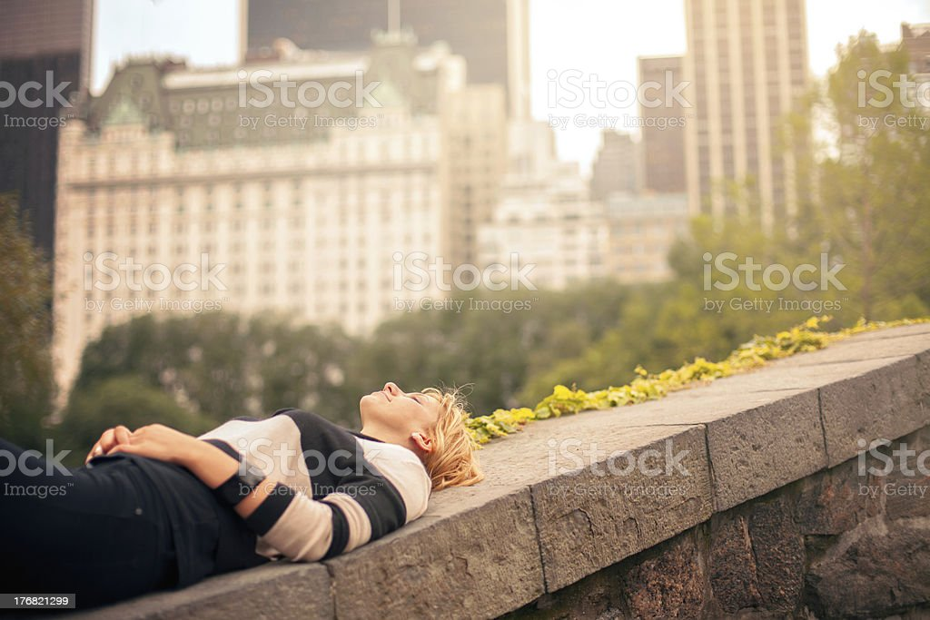 Taking a break from the city royalty-free stock photo