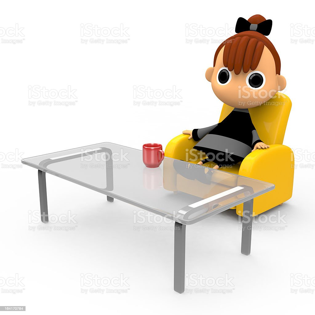 Taking a break sitting on the couch. royalty-free stock photo