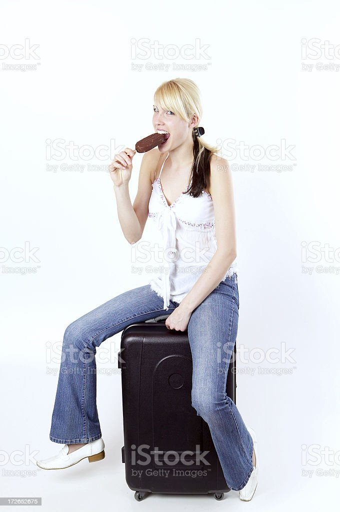 Taking  a break  with ice cream royalty-free stock photo