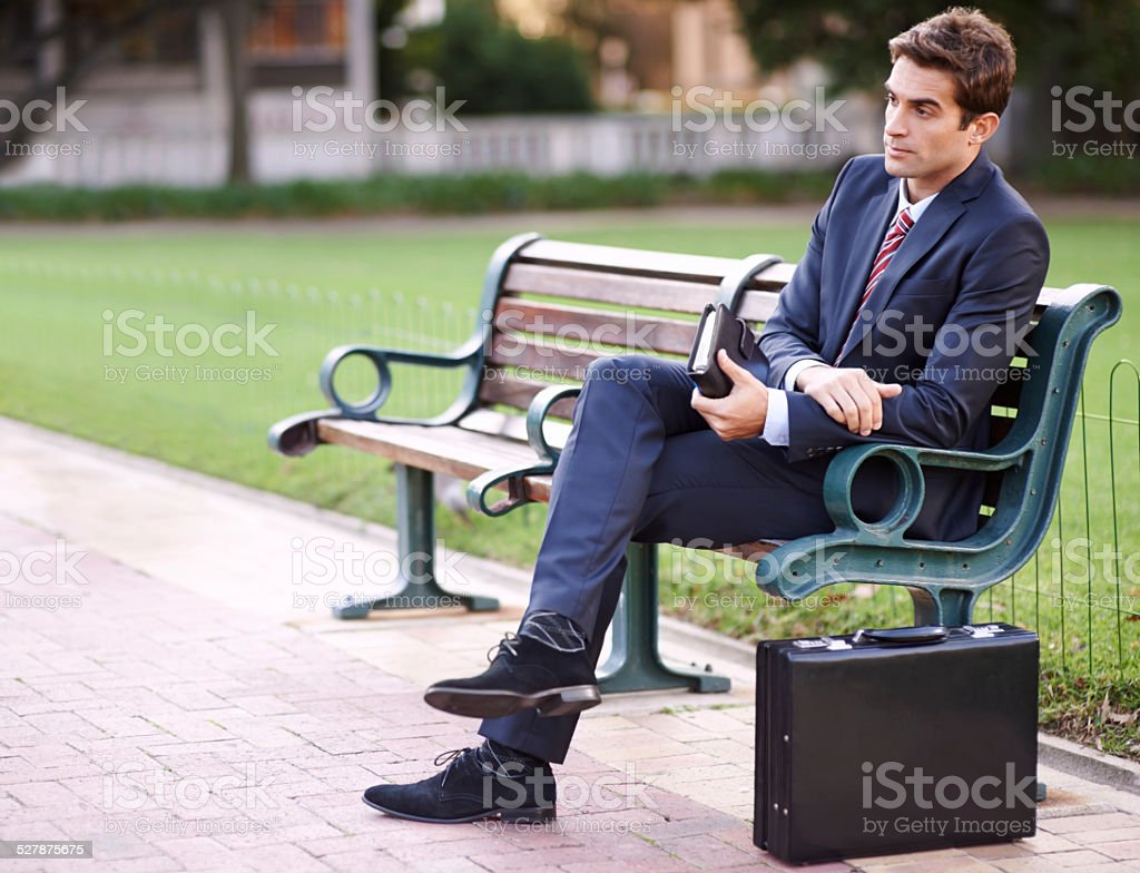 Taking a breather from the office stock photo