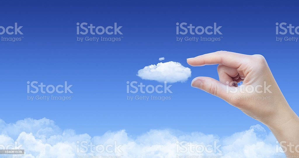 Taking A Cloud Concept stock photo