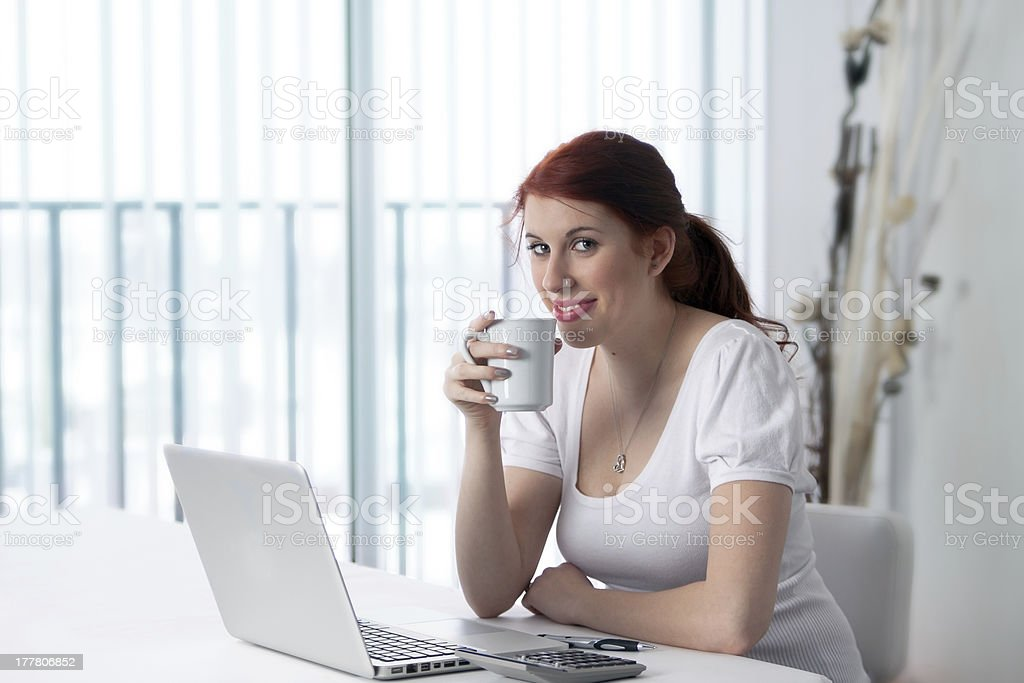 Taking a coffee break at work royalty-free stock photo