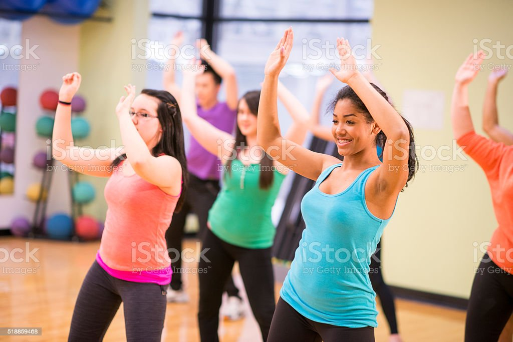 Taking a Dance Fitness Class stock photo