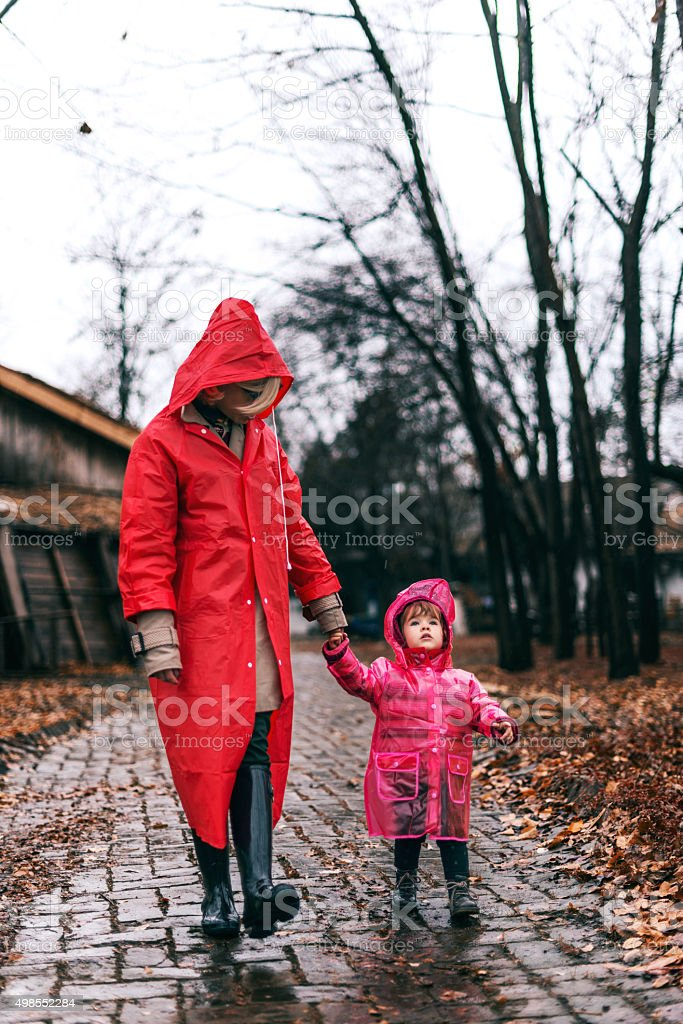 Taking a family walk stock photo