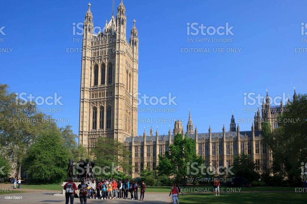 Taking a group photo in Victoria Tower Gardens, London stock photo