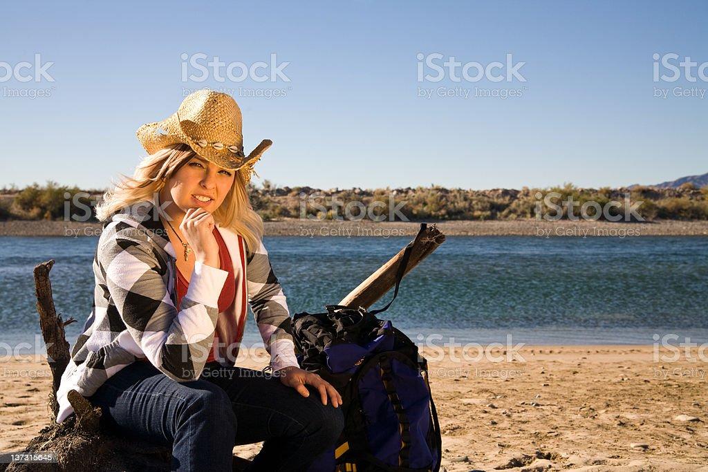 Taking a hiking break stock photo