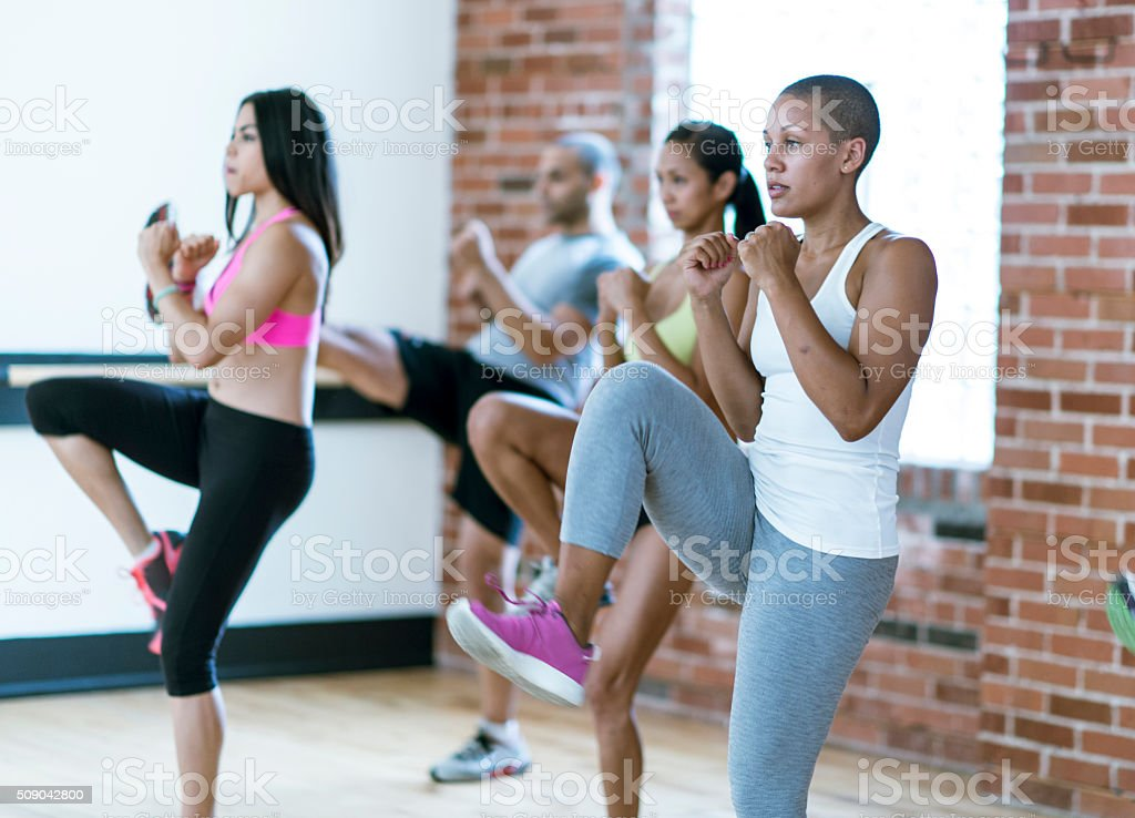Taking a Kickboxing Class stock photo