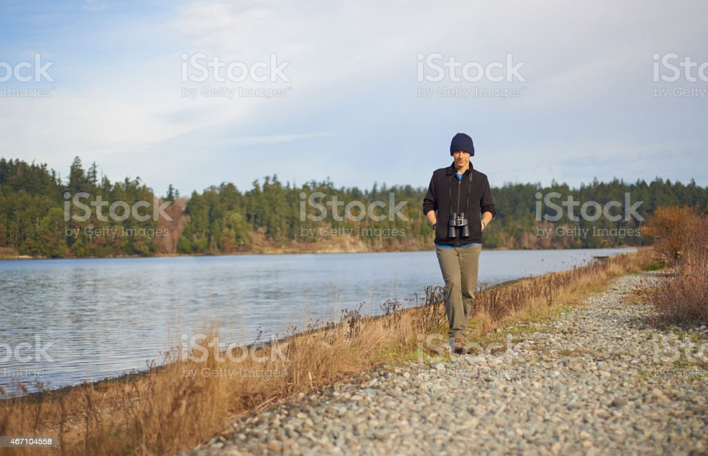 Taking a lakeside walk stock photo