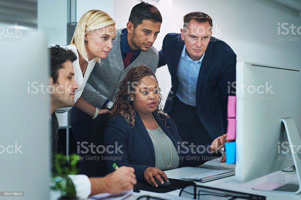 Taking a look at her latest project stock photo