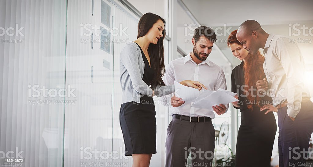 Taking a look at the financial results stock photo