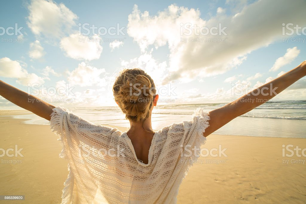 Taking a moment to breathe it all in stock photo
