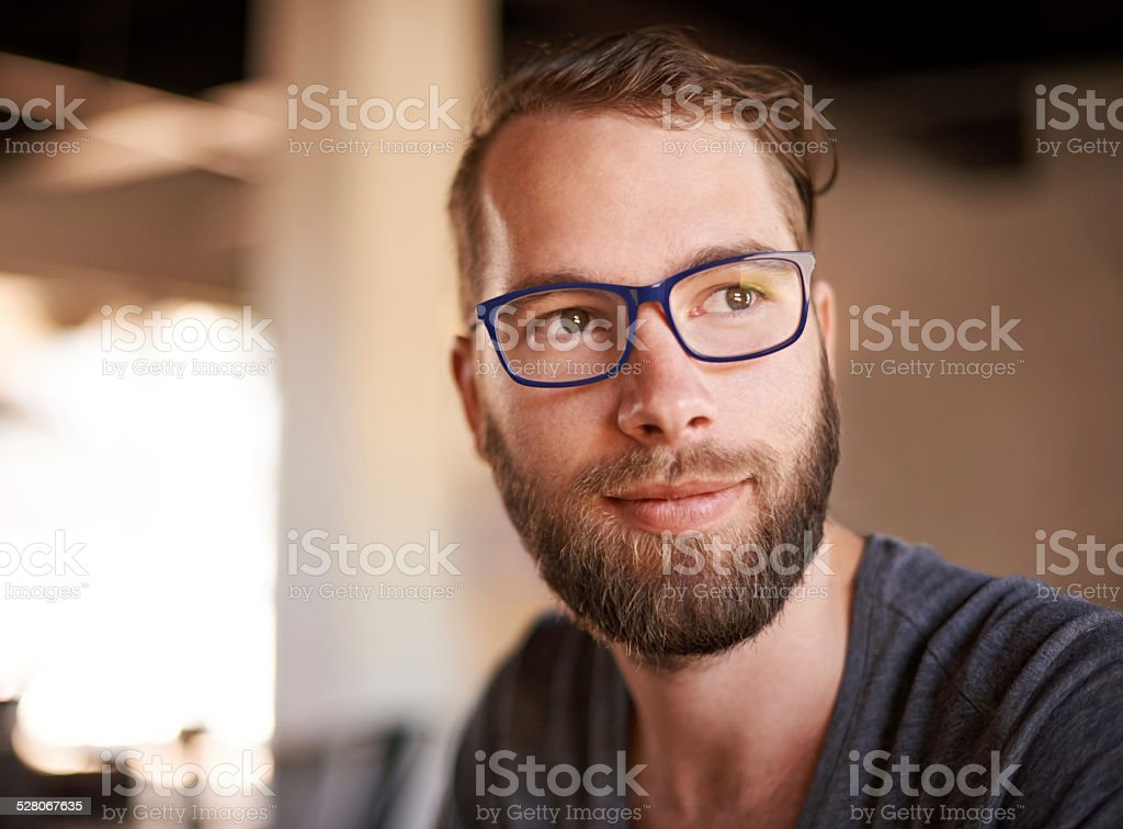 Taking a moment to reflect stock photo