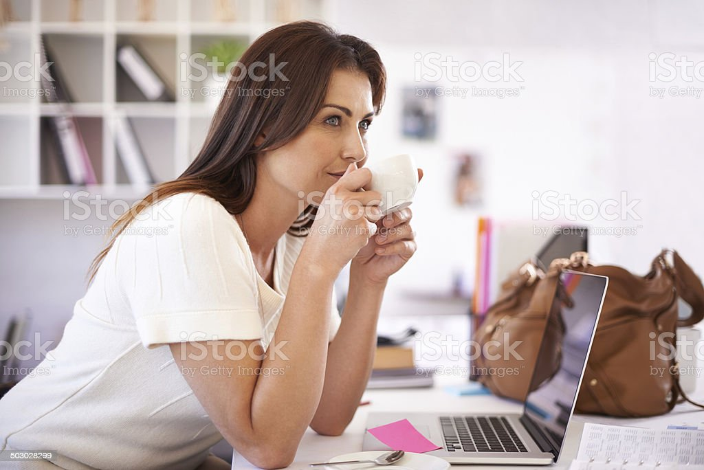 Taking a moment to refresh her mind stock photo