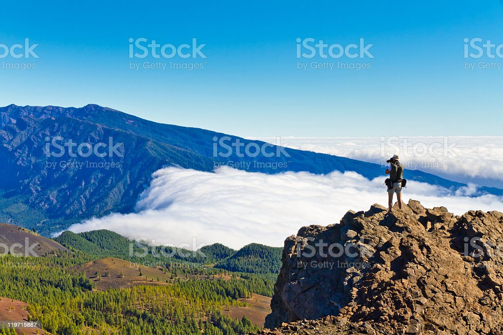 Taking a panoramic picture stock photo