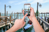 Taking a photo of Venice with a smartphone