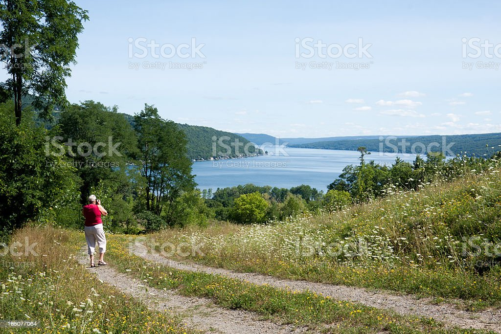 Taking a picture of Lake Keuka stock photo