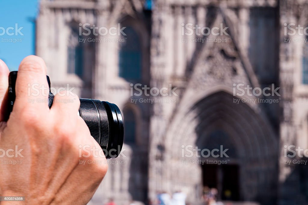 taking a picture of the Barcelona Cathedral, Spain stock photo