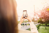 Taking a picture of the Eiffel Tower