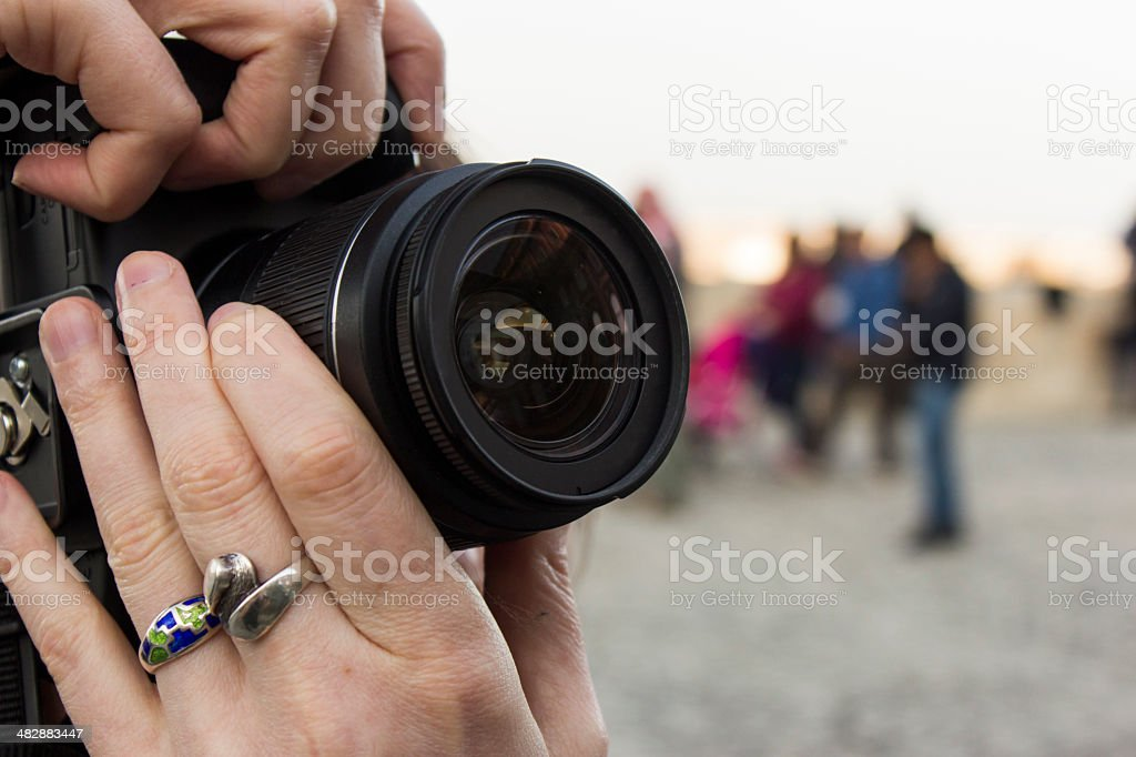 Taking a picture stock photo