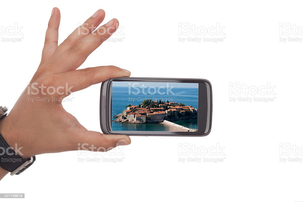 Taking a picture with black smartphone royalty-free stock photo
