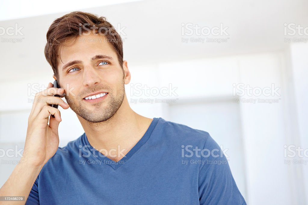 Taking a quick call royalty-free stock photo