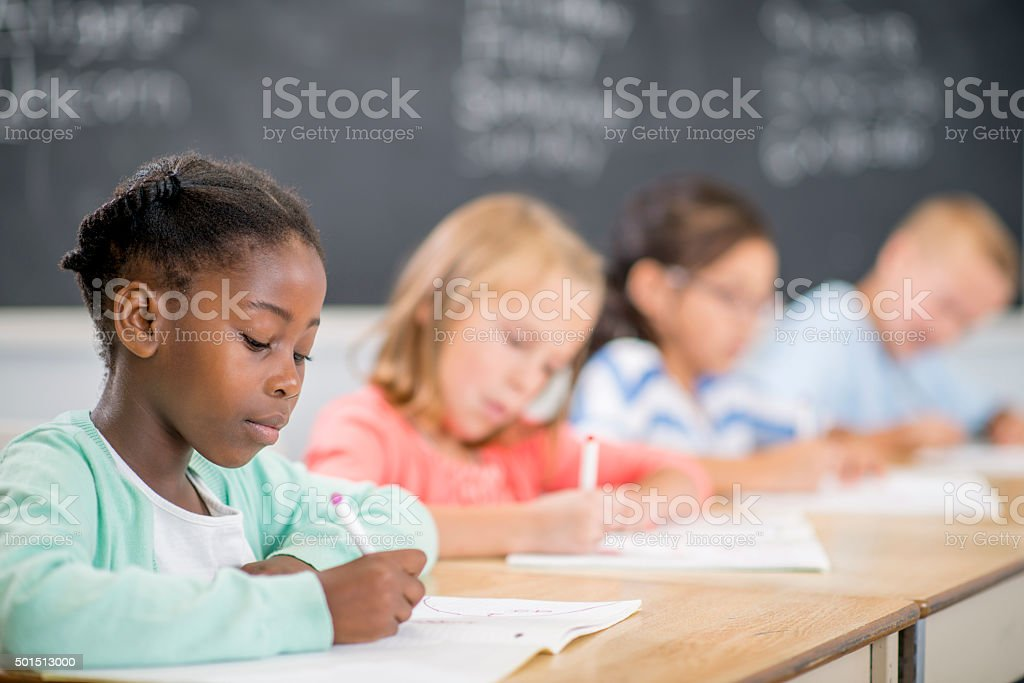 Taking a Quiz in Class stock photo
