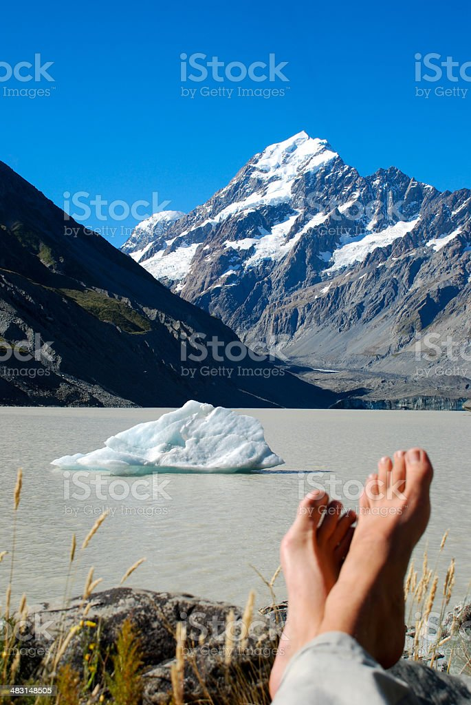 Taking a rest at the foot of Mt. Cook stock photo
