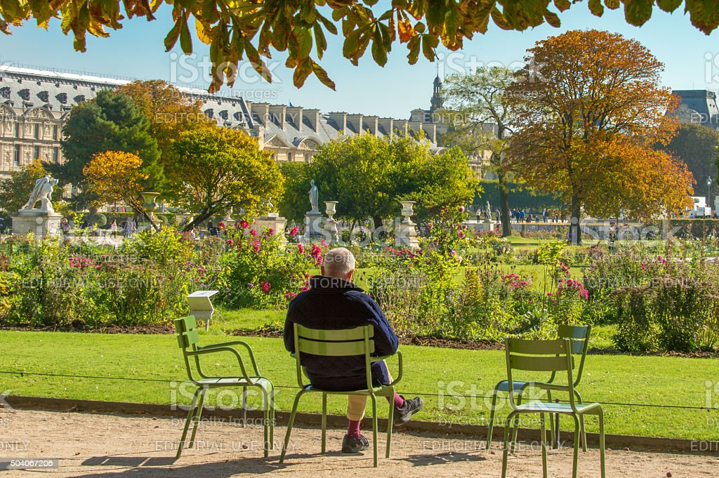 Taking a rest in Les Tuileries, Paris, France stock photo