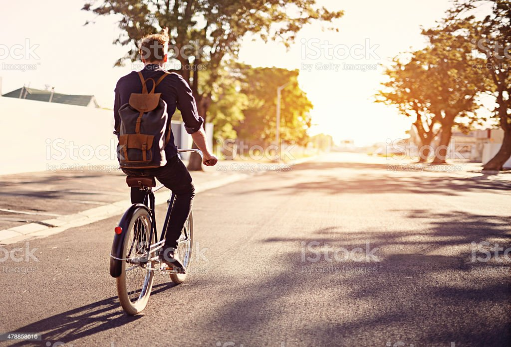 Taking a ride on the brighter side of life stock photo