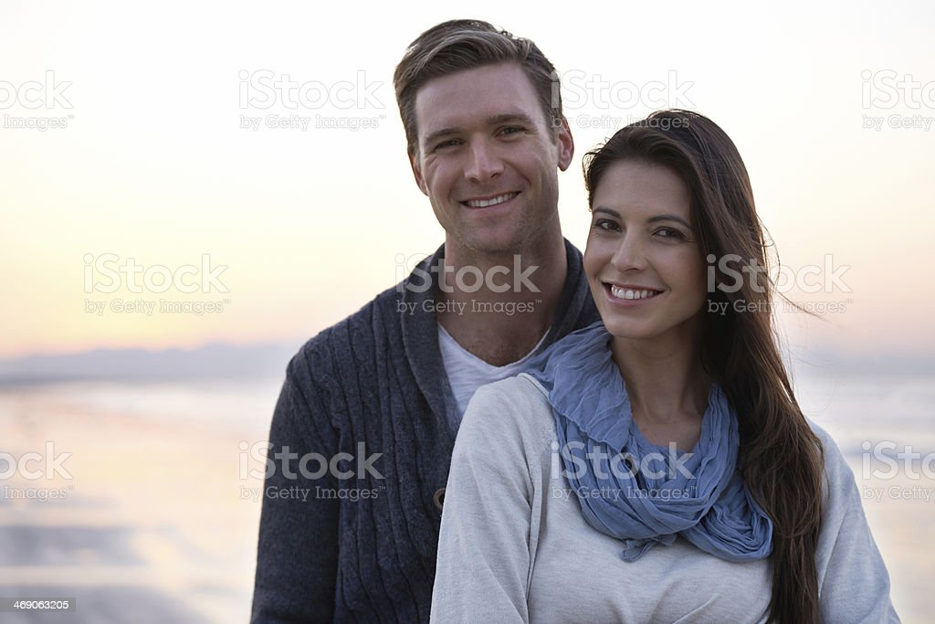 Taking a romantic beach walk royalty-free stock photo
