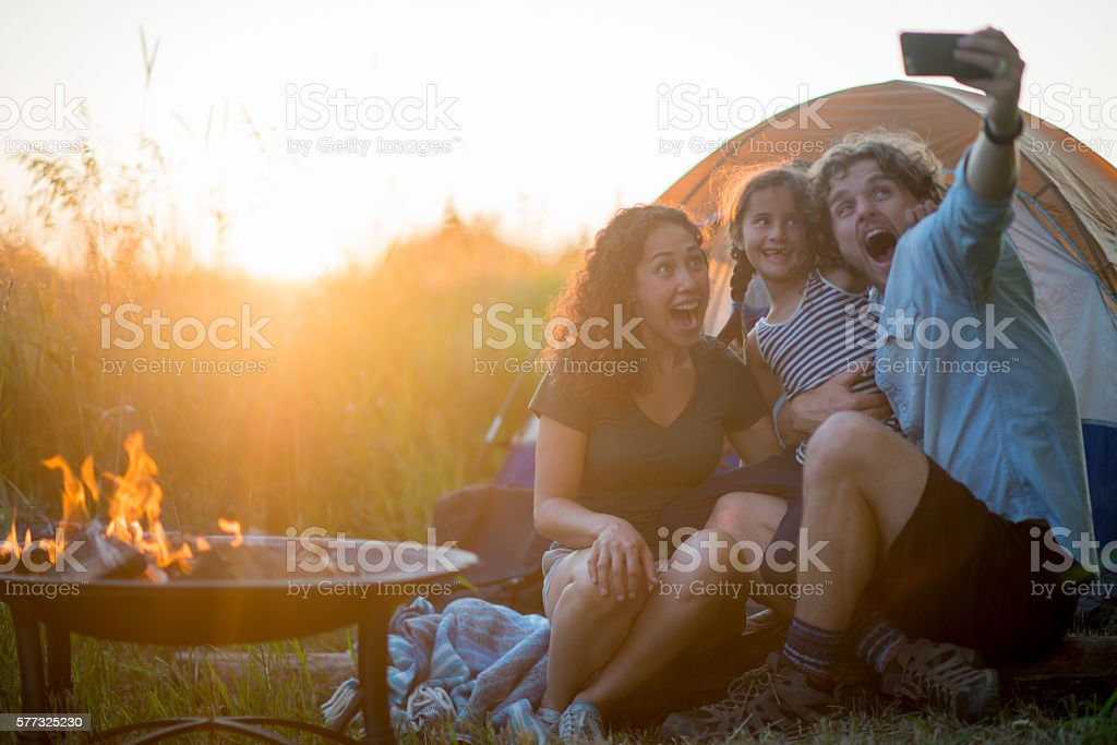 Taking a Selfie by the Tent stock photo