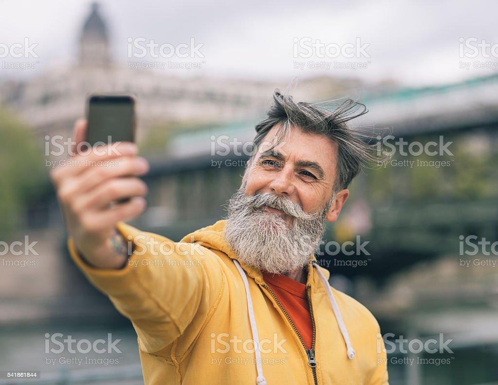 Taking a selfie in Paris stock photo